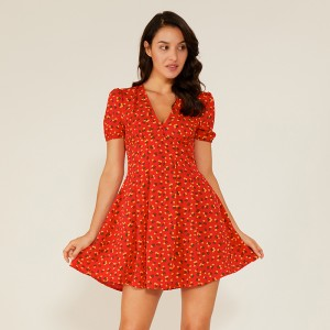 Femme Sexy Deep V Red Swing Floral Boho Vintage Robe Décontractée